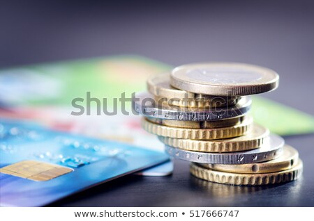 Credit cards and coins euro cent close up. Stock photo © borysshevchuk