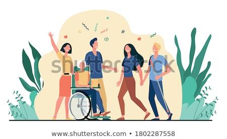 Kid · коляске · иллюстрация · девушки · ребенка · инвалидов - Сток-фото © colematt