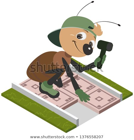 Ant worker laying pavement tiles. Vector cartoon Stock photo © orensila