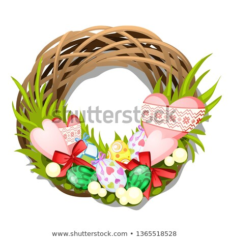 Easter braided wreath of twigs with eggs and hearts isolated on white background. Vector cartoon clo ストックフォト © Lady-Luck