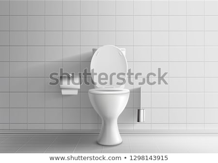 Realistic White Home Ceramic Toilet Bowl Vector Photo stock © pikepicture