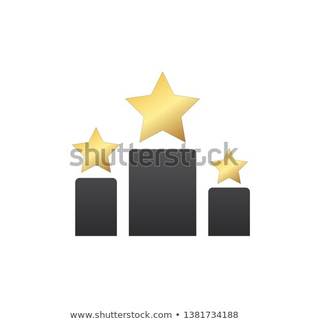 stars prize stars on different size podium icon gold silver and bronze first second and third p stock photo © kyryloff