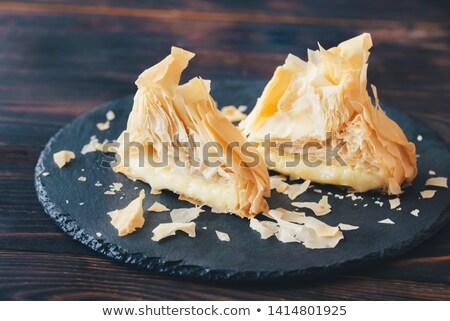 Camambert pasta siyah taş tahta Stok fotoğraf © Alex9500