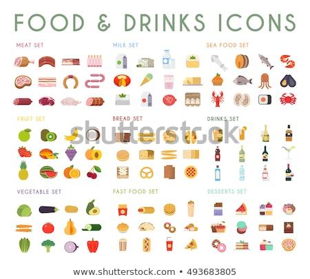 Gyorsételek ikon gyűjtemény színes terv ikon szett sablon Stock fotó © netkov1