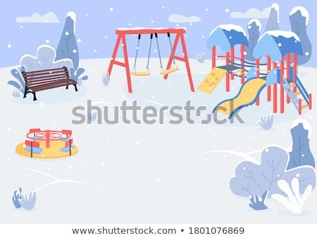 Eenvoudige speeltuin scène illustratie boom voorjaar Stockfoto © colematt