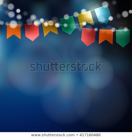 festa junina illustration with party flags light garland and typography letter on yellow background stock photo © articular