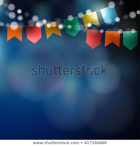 Ilustración fiesta banderas luz guirnalda tipografía Foto stock © articular