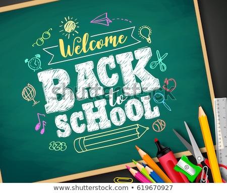 Back to school banner, doodle on green chalkboard background, vector illustration. Stock photo © ikopylov
