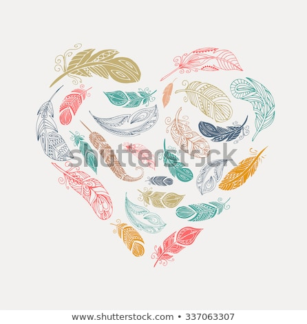bohemian style poster with gypsy colorful feathers arranged in heart stock photo © marish