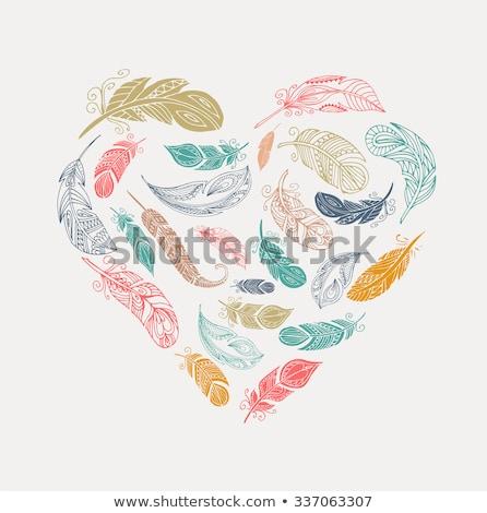 自由奔放な スタイル ポスター カラフル 羽毛 中心 ストックフォト © marish