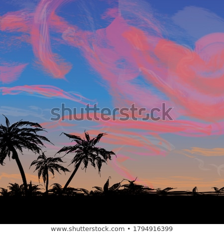 digital vector blue red beach travel stock photo © frimufilms
