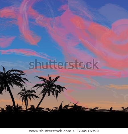 Digital vetor azul vermelho praia viajar Foto stock © frimufilms