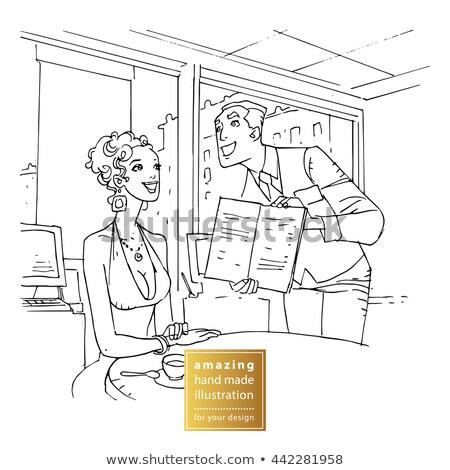 Woman Lady Customer of Cafe Reading Menu Vector Stock photo © robuart