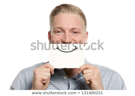 Személy tart kártya száj ironikus mosoly Stock fotó © ra2studio