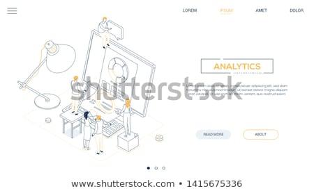 Business analytics - line design style isometric web banner Stock photo © Decorwithme