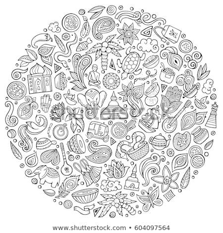 Set of Indian cartoon doodle objects Stock photo © balabolka