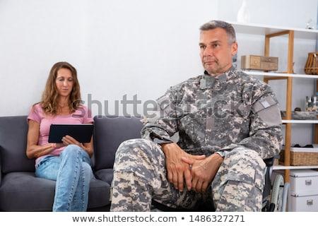 Asker oturma tekerlek sandalye eş dijital Stok fotoğraf © AndreyPopov