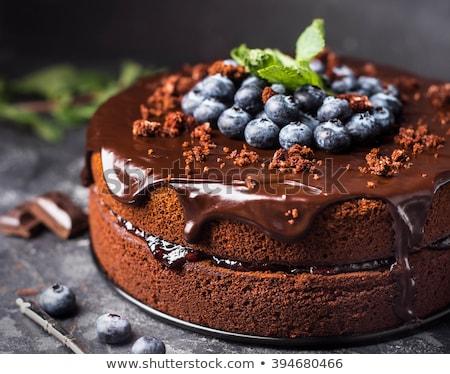 Csokoládés sütemény bogyók kávéscsésze felső kilátás fa asztal Stock fotó © karandaev