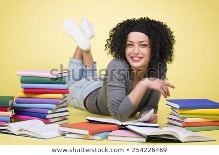 Sorridente estudante menina leitura colorido feliz Foto stock © lichtmeister