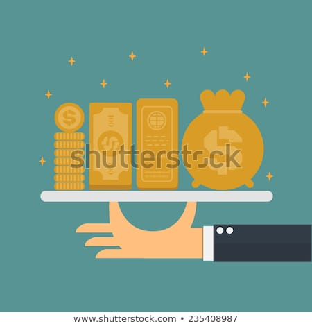Financial concept served on tray by waiter Stock photo © ra2studio