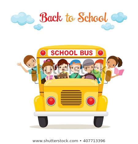 школьный автобус канцтовары книгах вектора транспорт карандашей Сток-фото © robuart