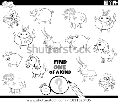 one of a kind game with farm animals color book Stock photo © izakowski
