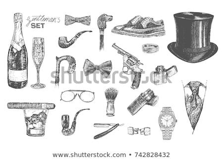Schets brits man kleur roken Stockfoto © netkov1