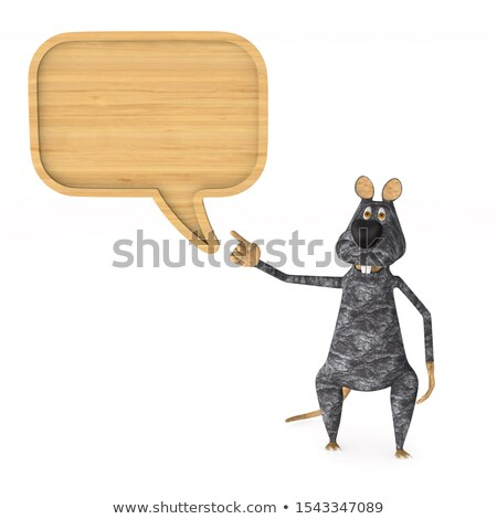 Stok fotoğraf: Rat And Wooden Bubble Speak On White Background Isolated 3d Ill
