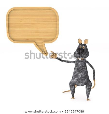 Stok fotoğraf: Sıçan · ahşap · kabarcık · konuşmak · beyaz · yalıtılmış