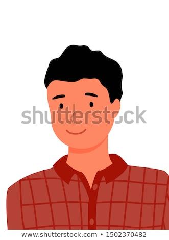 Homme à carreaux shirt portrait vecteur Photo stock © robuart