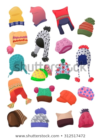 Winter Cap With Fluffy Pompons Color Vector Stock photo © pikepicture