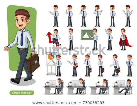 Feketefehér boldog rajz üzletember aktatáska illusztráció Stock fotó © izakowski