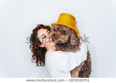 Mulher seis cão belo mulher jovem cabeça Foto stock © vkstudio