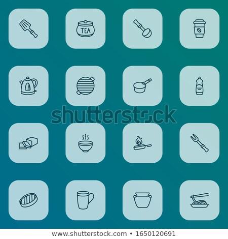 Cserépedények szedőlapát ikon vektor skicc illusztráció Stock fotó © pikepicture