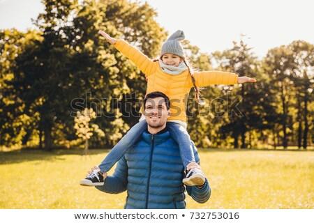 Bonito pai piggyback pequeno engraçado menina Foto stock © vkstudio