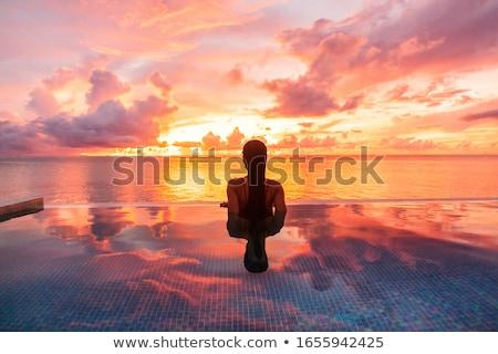 Kadın Maldivler güzel bir kadın rahatlatıcı plaj gökyüzü Stok fotoğraf © dash