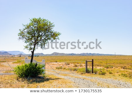 Gate in wire fence at a windmills farm Stock photo © cienpies