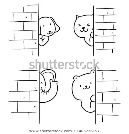 Vektor szett állat rejtőzködik mögött fal Stock fotó © olllikeballoon