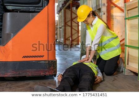 Magazijn werknemer ongeval asian manager Stockfoto © vichie81