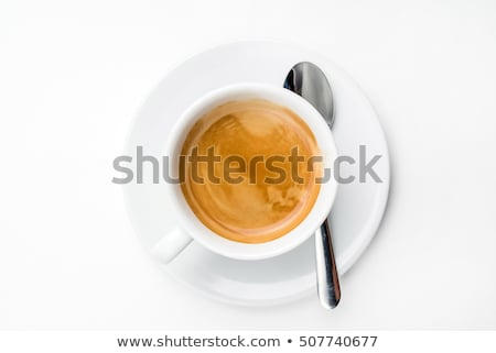 Branco copo pires colher isolado café Foto stock © Evgeniya_Uvarova