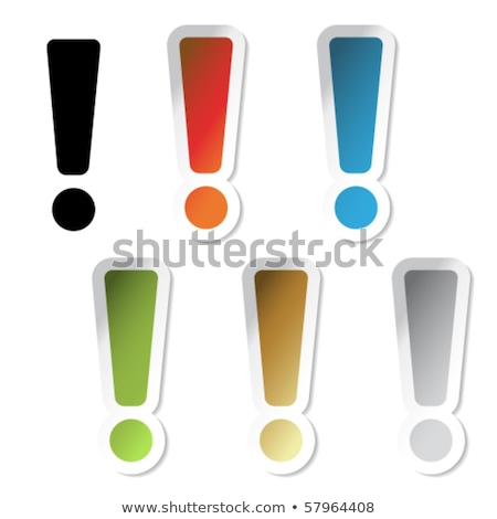 Green exclamation mark with white border Stock photo © orson