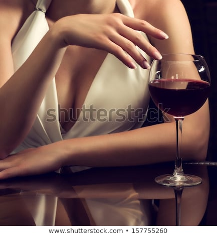 Stok fotoğraf: Gelin · cam · şarap · güzel · iç · kadın
