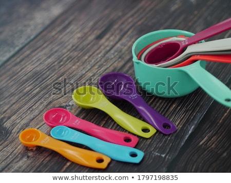 színes · műanyag · kanalak · fehér · terv · konyha - stock fotó © bbbar