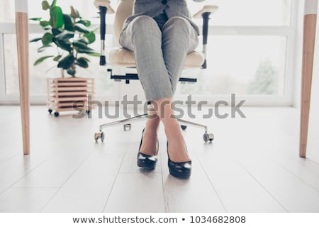 Black leather shoes crossed on table Stock photo © vetdoctor