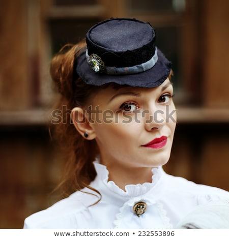 Donna corsetto guanti piccolo Hat ritratto Foto d'archivio © marylooo