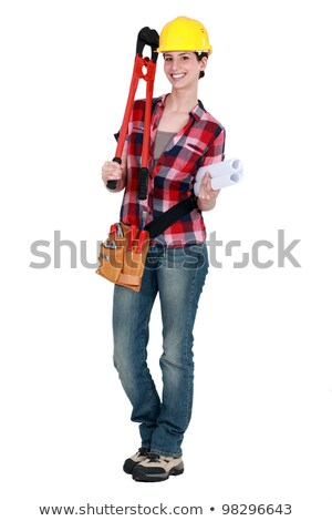 Tradeswoman holding large clippers and rolled-up drawings Stock photo © photography33