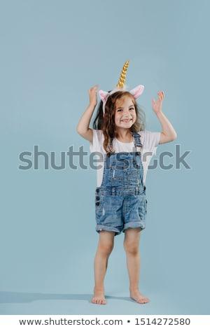 Lány visel gyermek portré fiatal sötét Stock fotó © photography33