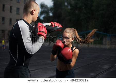 boxing woman in guard Stock photo © carlodapino
