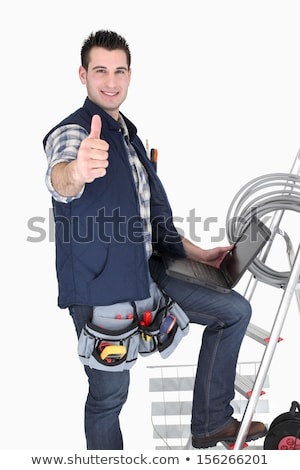 Electrician with laptop and ladder Stock photo © photography33