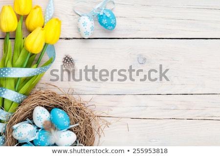 virágcsokor · tulipánok · orgona · rózsaszín · fehér · húsvét - stock fotó © juniart